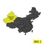 Map of China with Xinjiang highlighted